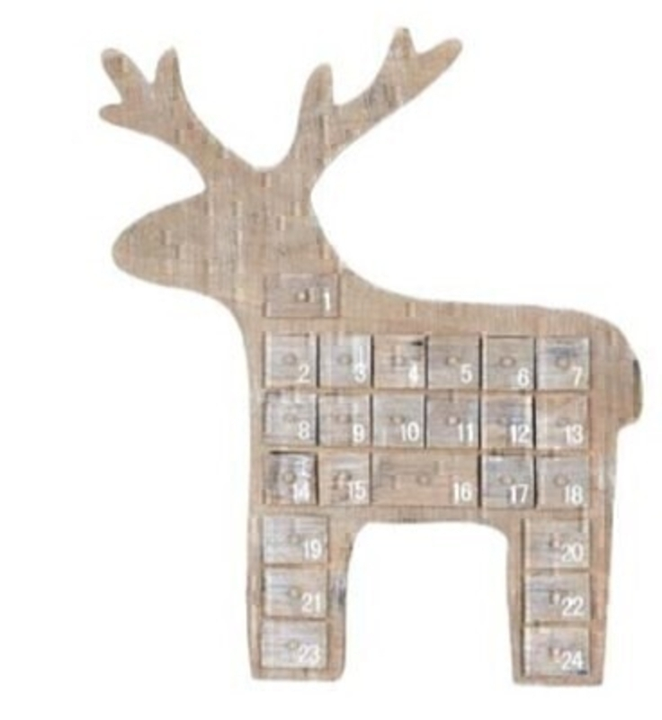 Countdown to Christmas with this natural wooden Reindeer Advent Calendar by Gisela Graham.  Includes 24 doors to insert your own sweets/treats to countdown the days until Christmas (sweets / treats not included). This fesive Christmas Reindeer will delight for years to come and will bring Christmas cheer to children in the run up to Christmas. Remember Booker Flowers and Gifts for Gisela Graham Christmas Decorations.