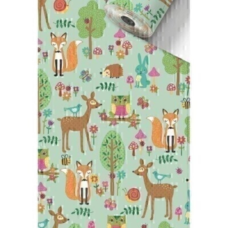 Luxury Roman Woodland Animals in a forest light green roll wrap paper by Swiss designer Stewo. Quality white kraft wrapping paper 70gsm. Approx size of roll 70cm x 2metres.