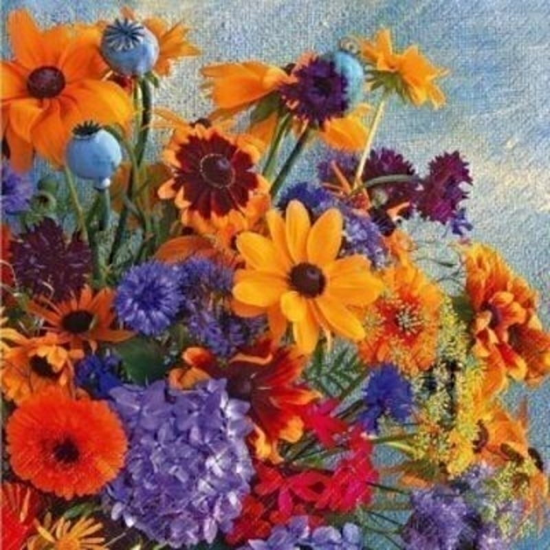 Yellow Rudbeckia and Purple Flowers Rebekka Paper Napki: Booker Gifts