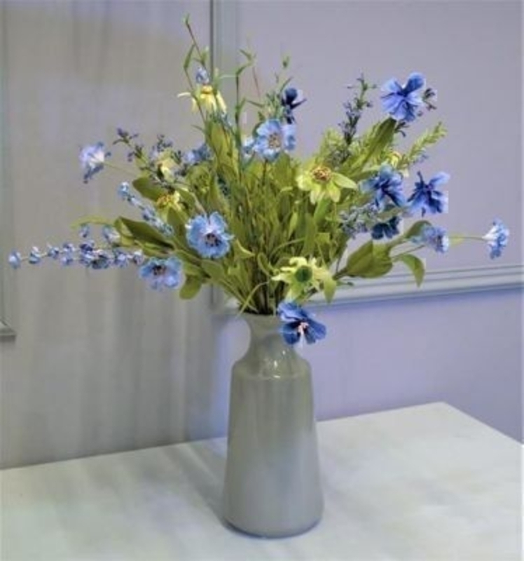 Yellow and Blue Artificial Meadow Flowers by Bloomsberry. *Vase not included* These stunning silk flowers give the impression they have just been hand picked from a meadow especially for you. For realistic fake and silk flowers Bloomsberry is second to none.