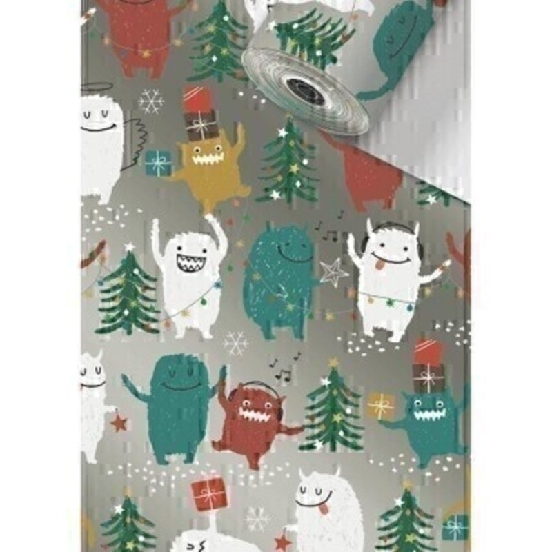 Silver festive Christmas roll wrap paper by Swiss designer Stewo featuring yeti and monsters. Coated 80gsm Christmas wrapping paper. Approx size of roll 70cm x 2metres.