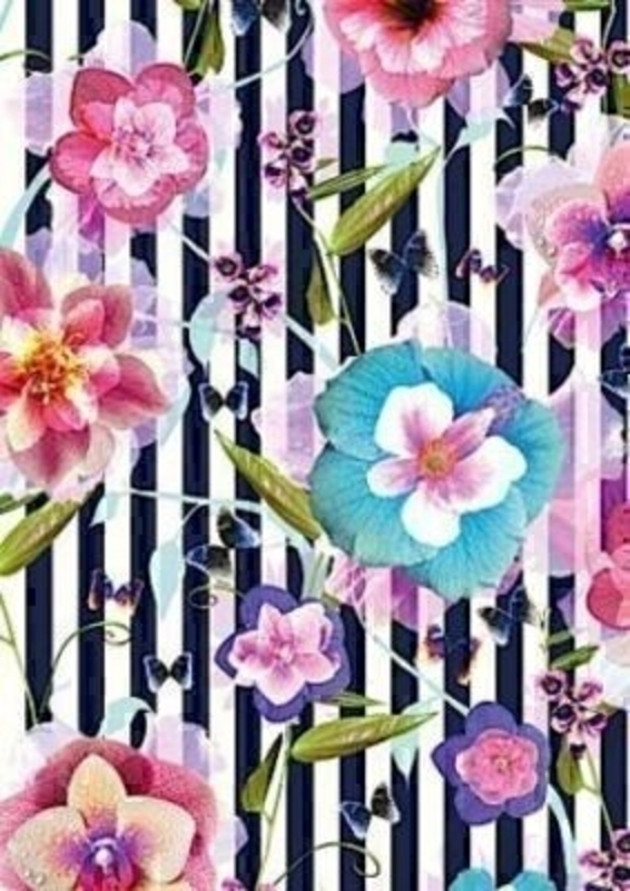 Ayano Flowers And Stripes Gift Wrap On Roll By Stewo