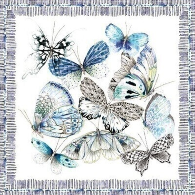 Blue Butterfly Blank Greetings Card by Paper Rose