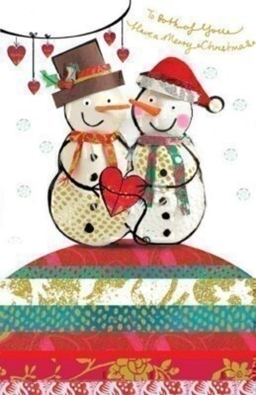Both Of You Snowmen With Heart Christmas Card