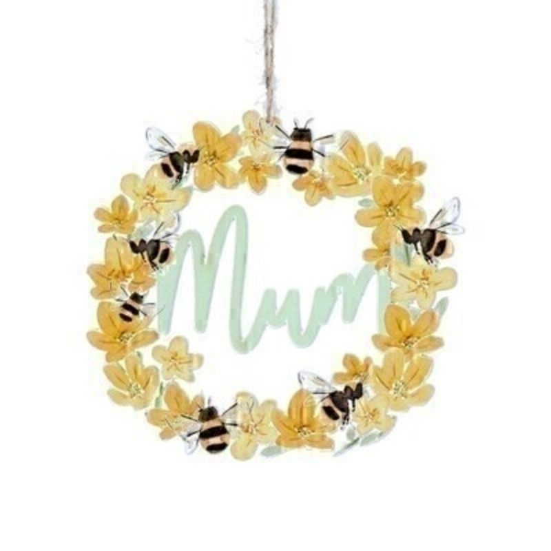 Buttercup and Bee Mum Wooden Decoration By Gisela Graham
