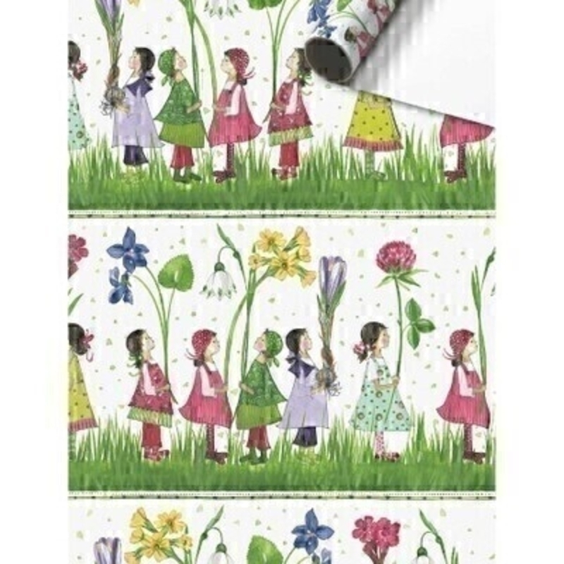 Children and Flowers Tadita Green Gift Wrap By Stewo