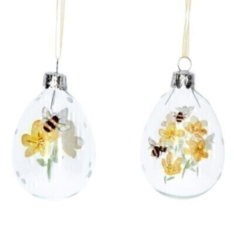 Choice of 2 Glass Bee Easter Egg Hanging Dec By Gisela Graham
