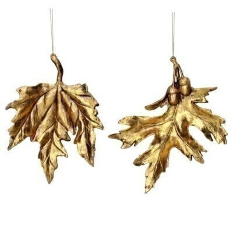 Choice of 2 Gold Leaf Christmas Decoration Gisela Graham
