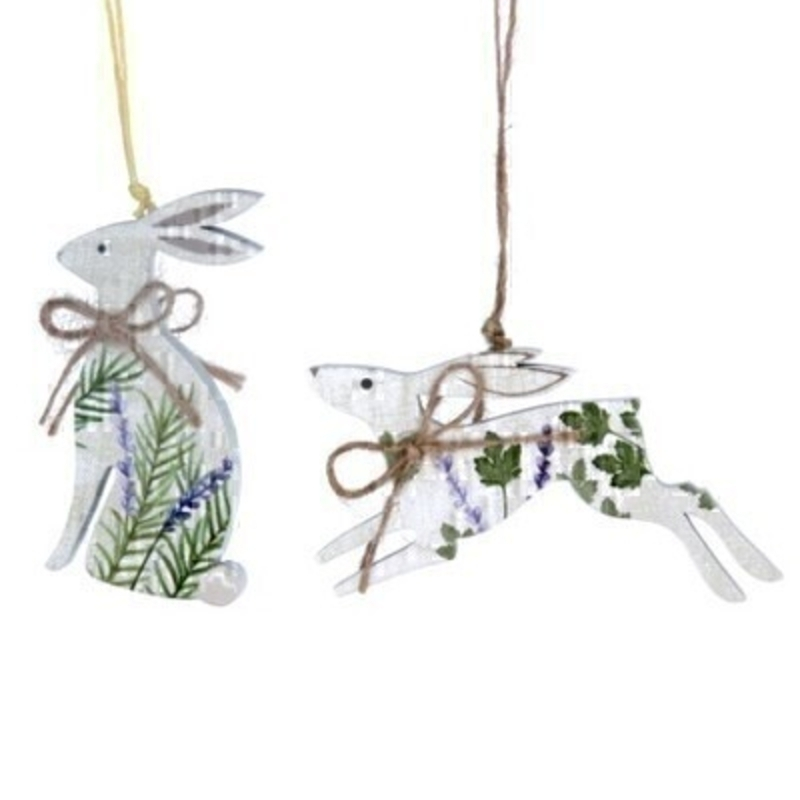 Choice of 2 Wooden Hare Hanging Decoration By Gisela Graham