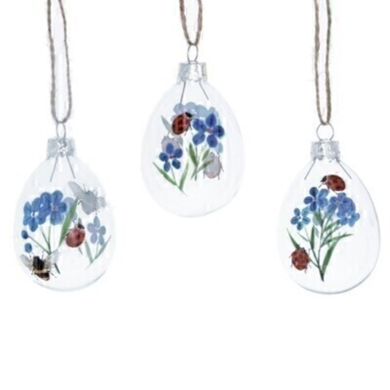 Choice of 3 Ladybird Bee Floral Hanging Easter Egg By Gisela Graham