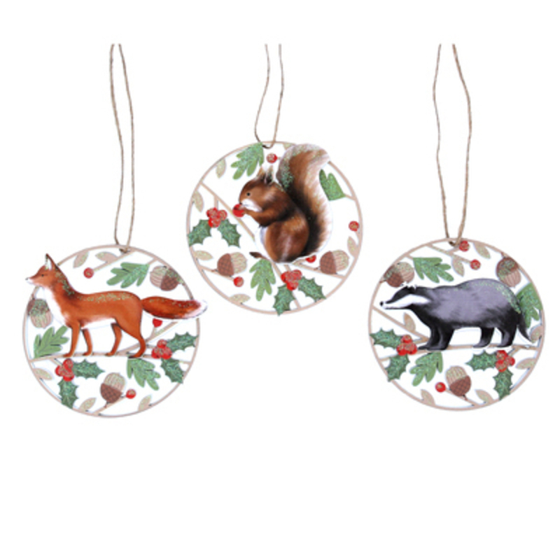 Choice of 3 Woodland Christmas Hanging Decoration by Gisela Graham