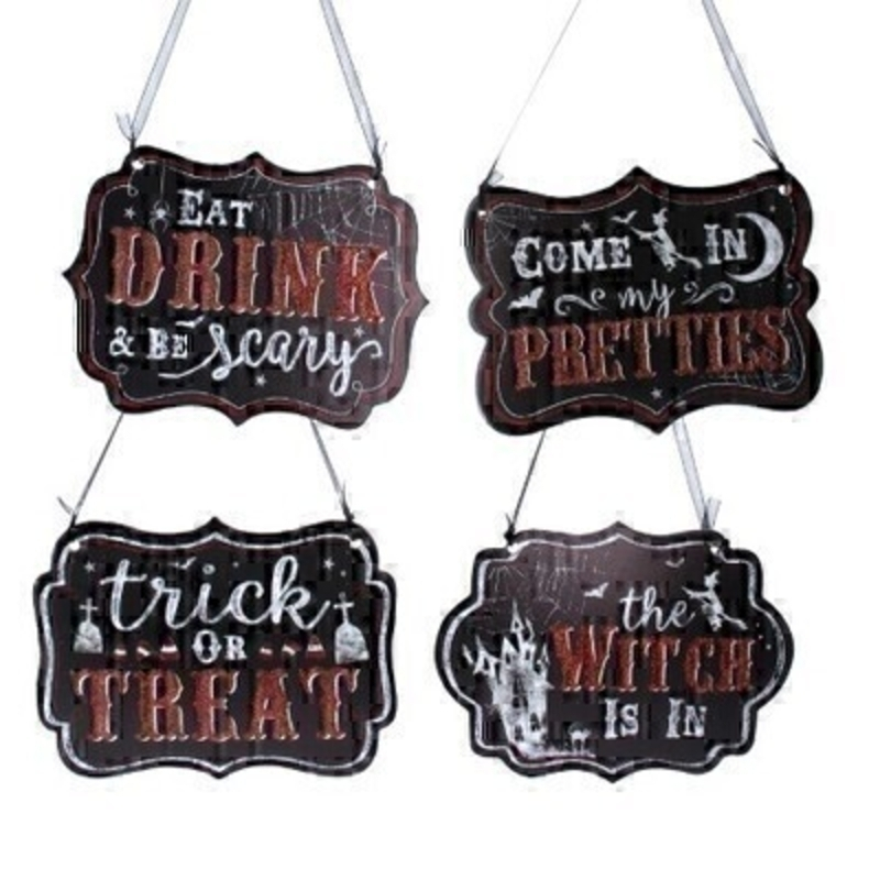 Choice of 4 Wood Halloween Plaque Gisela Graham