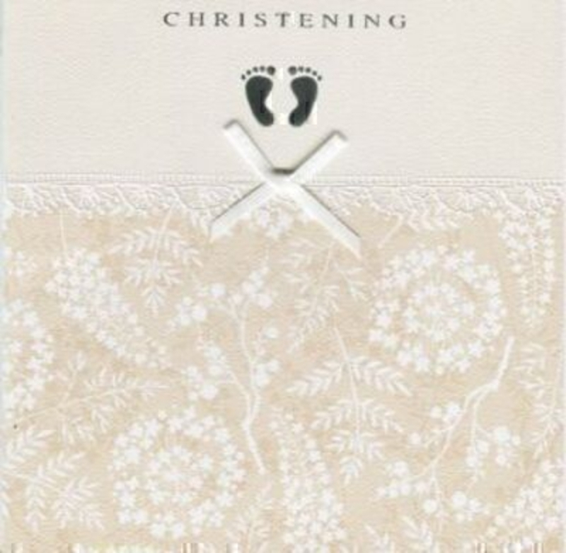 Christening Card Little Silver Feet by Paper Rose