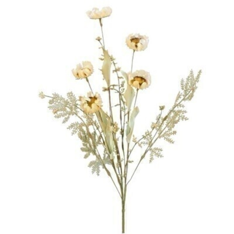 Cream Wild Flower Fern Artifical Flowers By Gisela Graham
