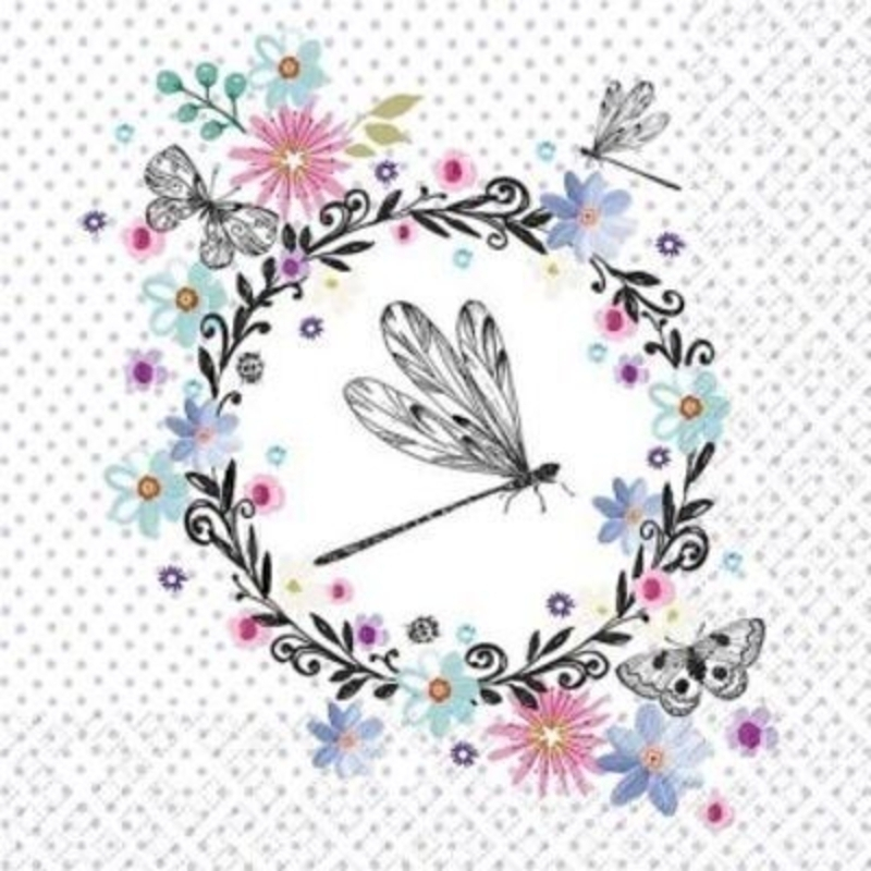 Dragonfly Butterfly and Flower Design Laurine Paper Na