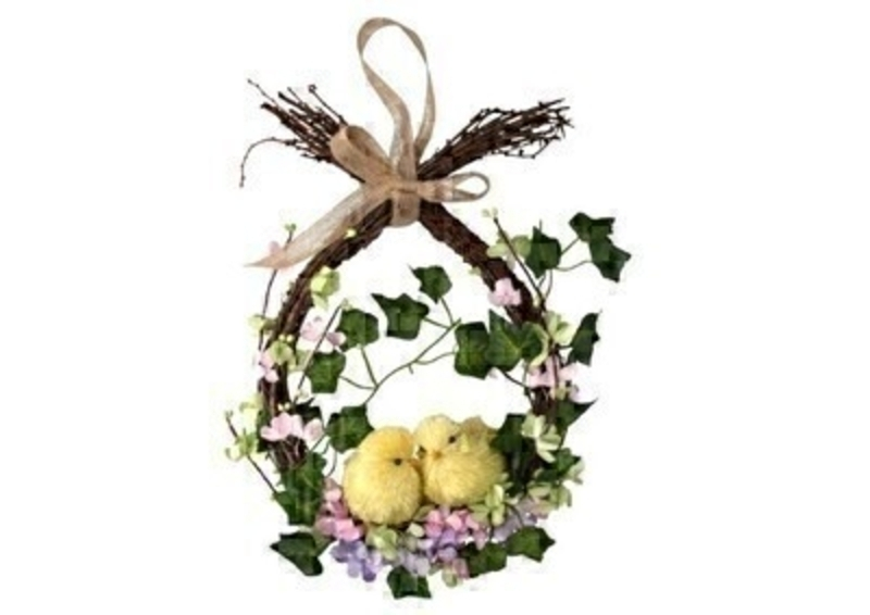 Easter Twig Wreath With Flowers and Chicks by Gisela Graham