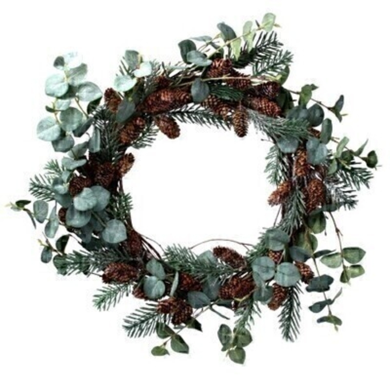 Eucalyptus Fir and Cone Wreath Gisela Graham