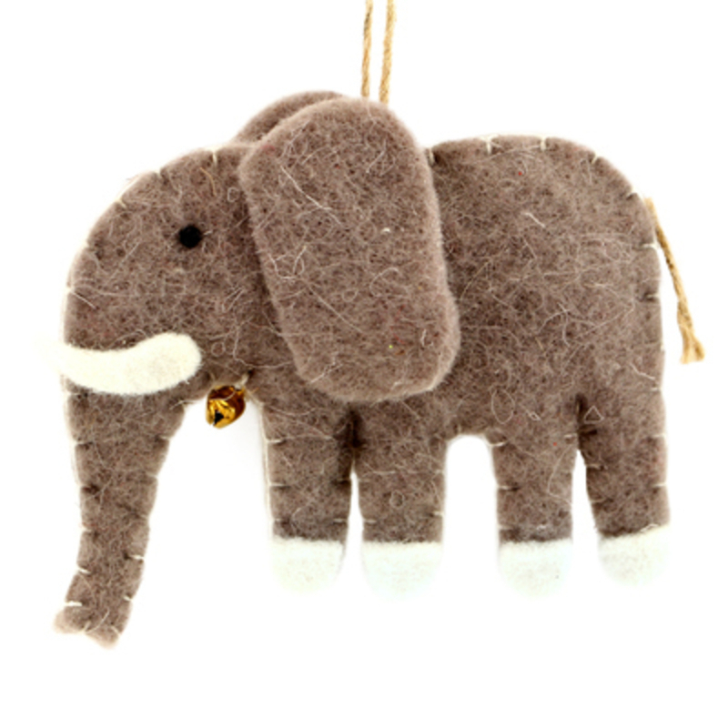 Felt Elephant Hanging Christmas Decoration by Gisela Graham