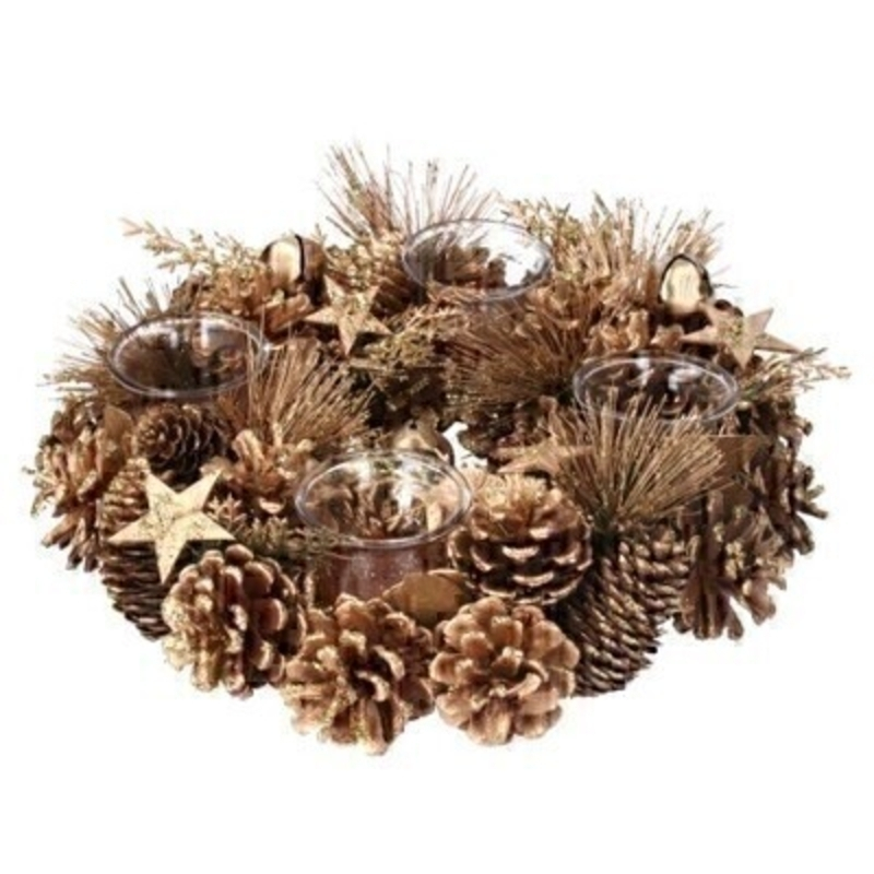 Festive Gold Cone T.Lite Wreath Holder Gisela Graham