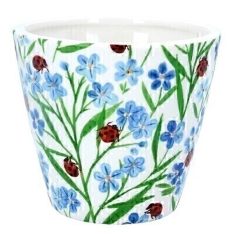 Forget-Me-Not Ladybird Ceramic Pot Cover By Gisela Graham