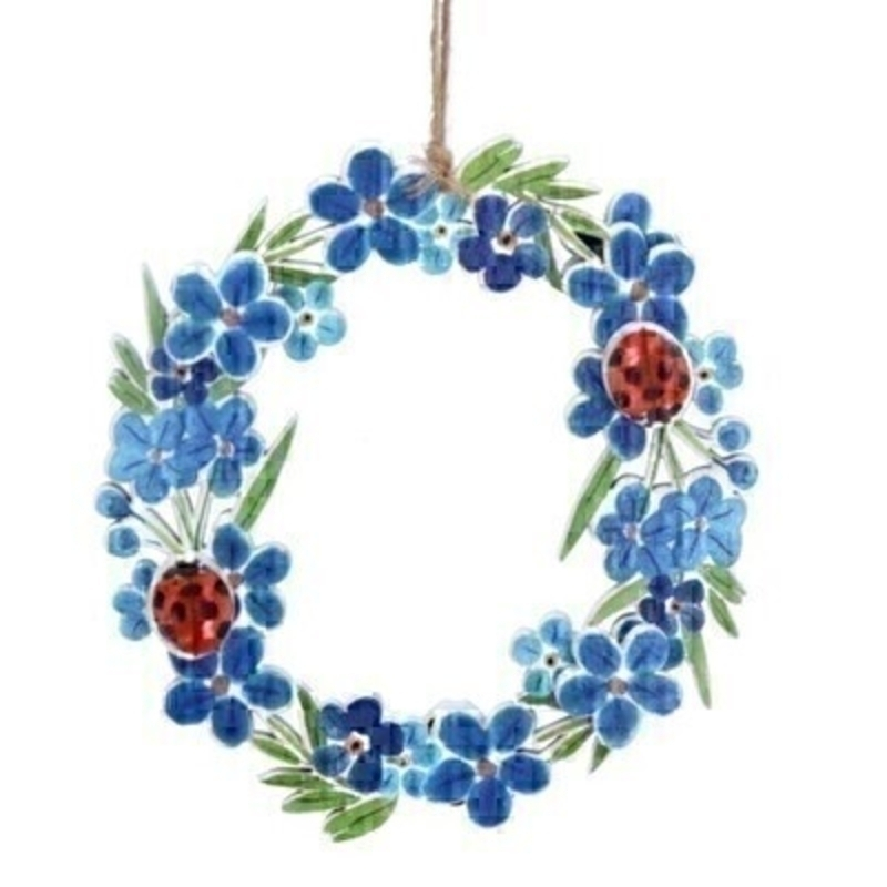 Forget-Me-Not Ladybird Wooden Wreath by Gisela Graham