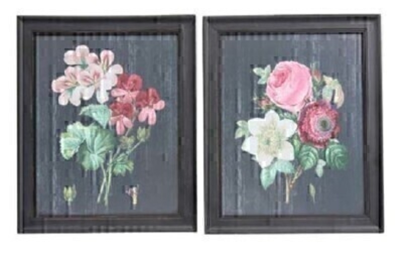 Framed Posy Antiqued Wood Wall Pictures - by Gisela Graham