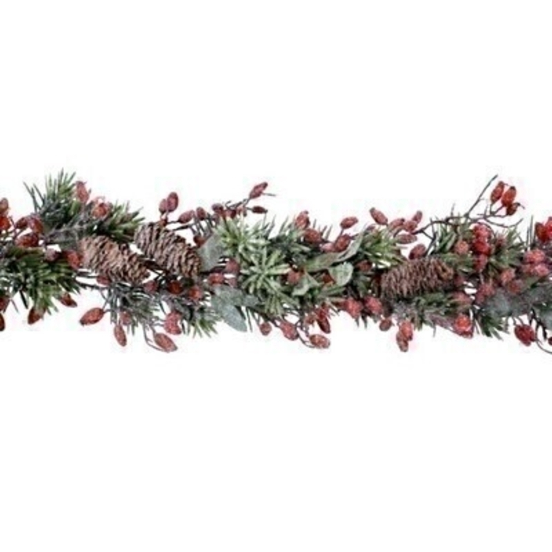 Frosted Fir Garland with Rosehips Gisela Graham