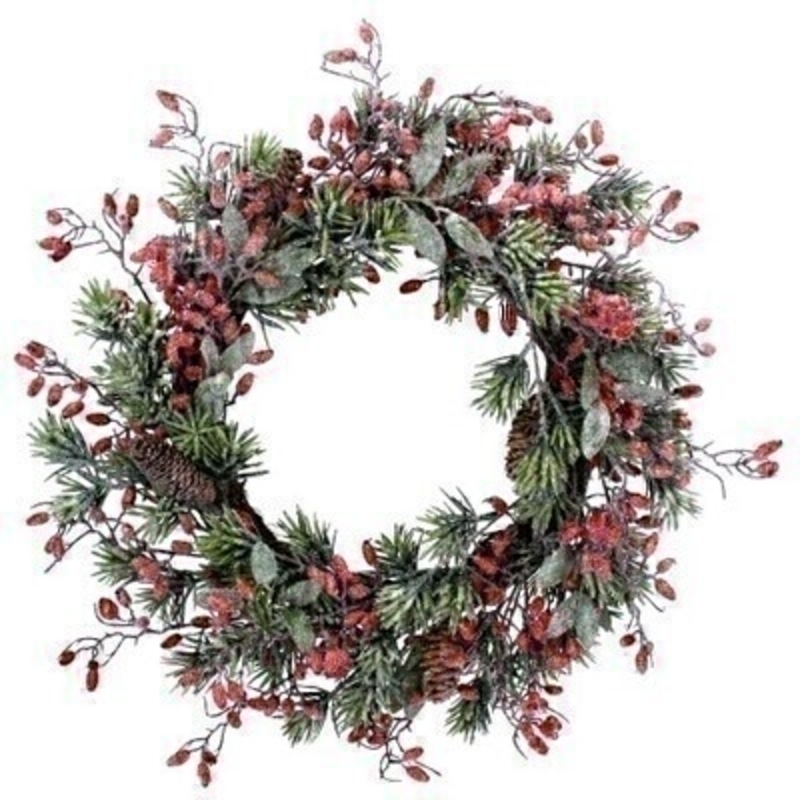 Frosted Fir Wreath with Rosehips Gisela Graham