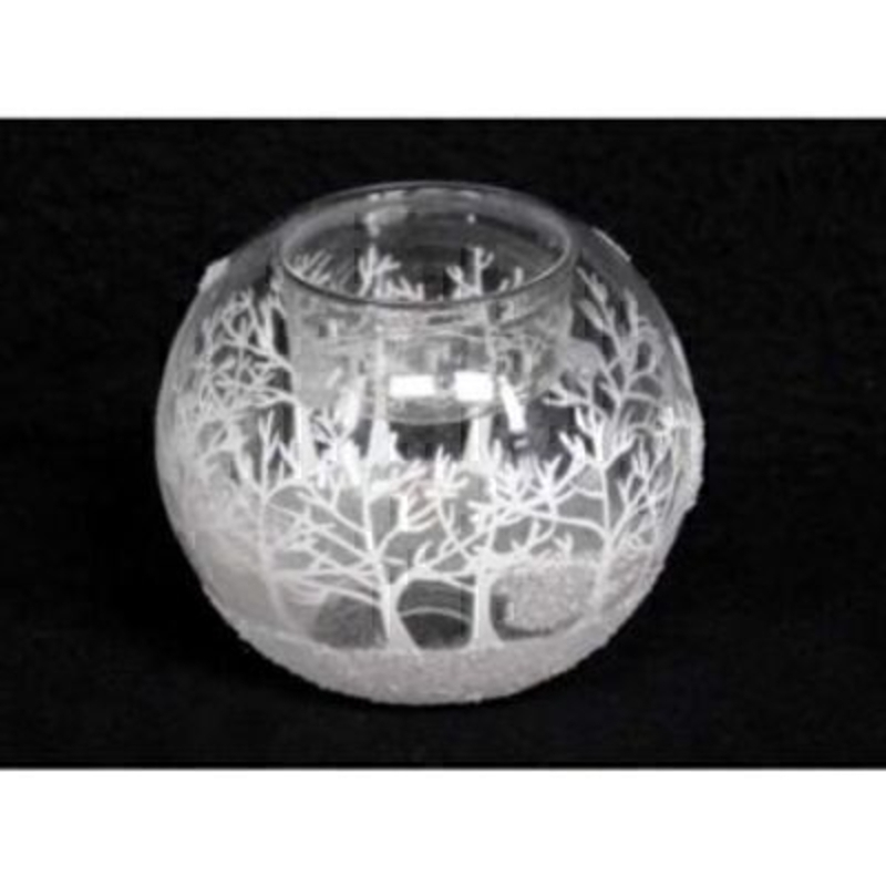 Frosted Trees Glass Tea Light Ball Christmas Gisela