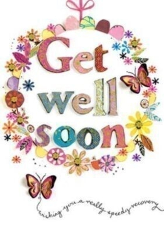 Get Well Soon Card Floral Wreath With Butterflies