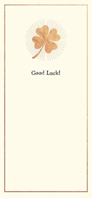 Gold Four Leaf Clover Good Luck Card by Paper Rose