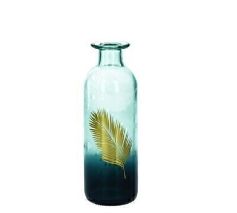 Gold Palm Leaf and Ombre Small Glass Vase by Gisela Graham