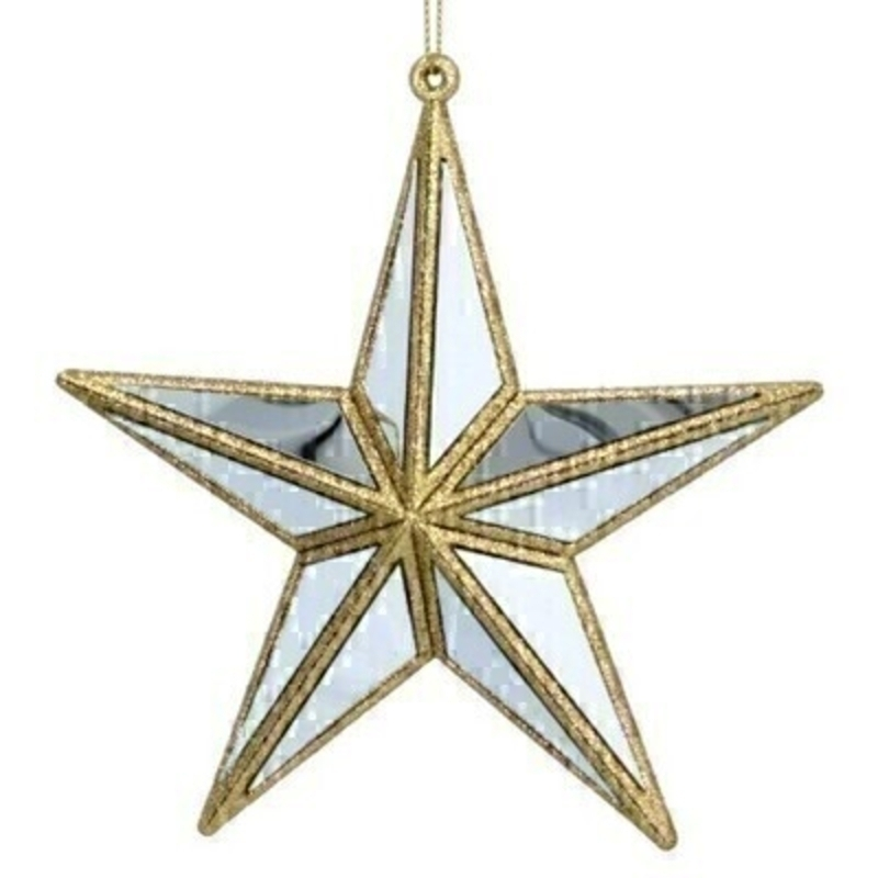 Gold and Silver Star Hanging Decoration Gisela Graham
