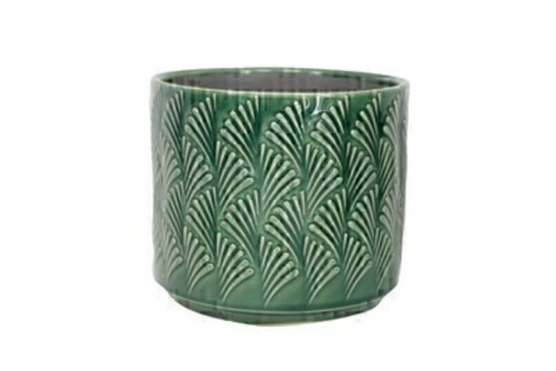 Green Fan Wave Ceramic Medium Pot Cover Gisela Graham