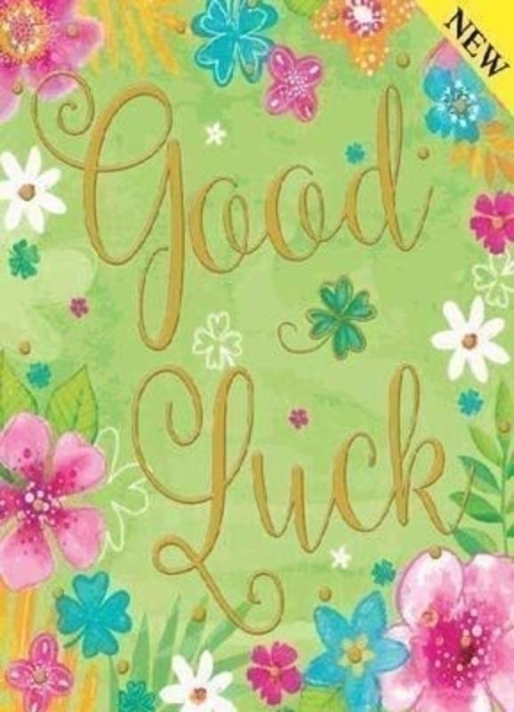 Green Good Luck Card With Flowers by Paper Rose
