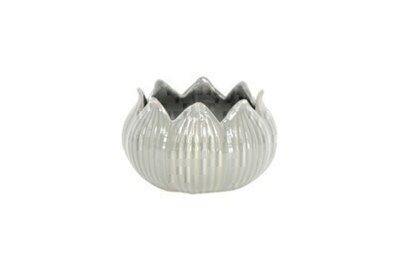 Grey Ceramic Lotus Tea Light Holder Gisela Graham