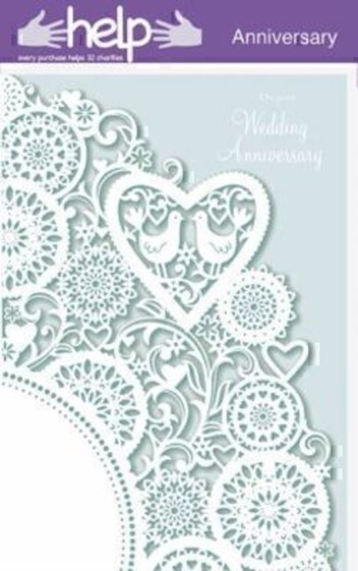 Happy Anniversary Card Two Birds on Lace by Paper Rose