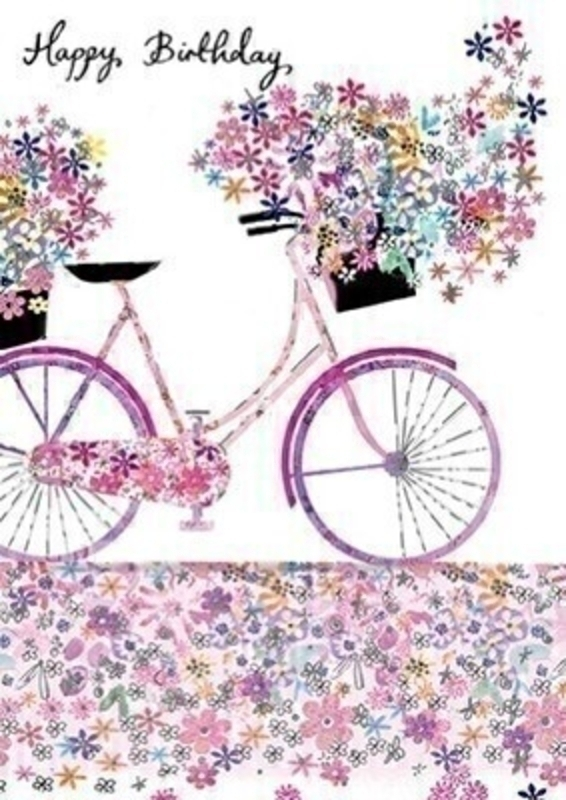 Happy Birthday Bicycle and Flowers Greetings Card With Envelope