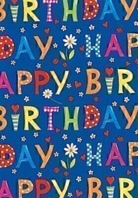 Happy Birthday Blue Gift Wrap On Roll Wrap By Stewo