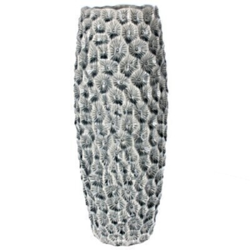 Large Grey Crater Decorative Vase Gisela Graham