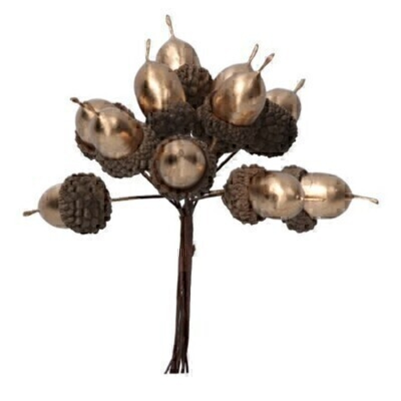 Matt Gold Decorative Acorn Bunch By Gisela Graham