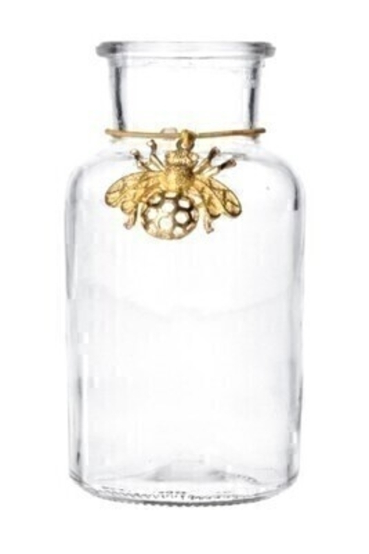 Mini Glass Bottle With Gold Bee Charm Gisela Graham