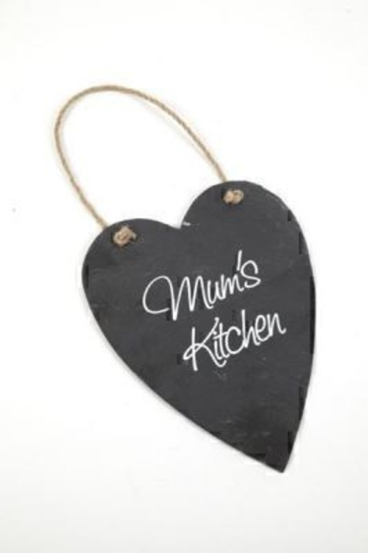 Mums Kitchen Slate Heart Sign By Heaven Sends