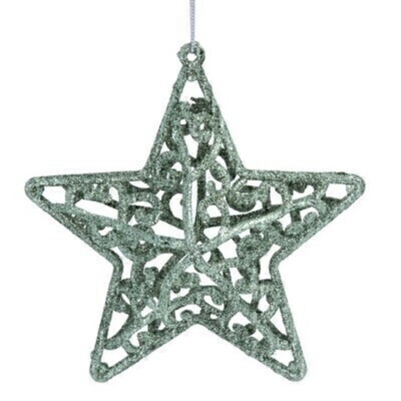 Pale Green Star Hanging Decoration Gisela Graham