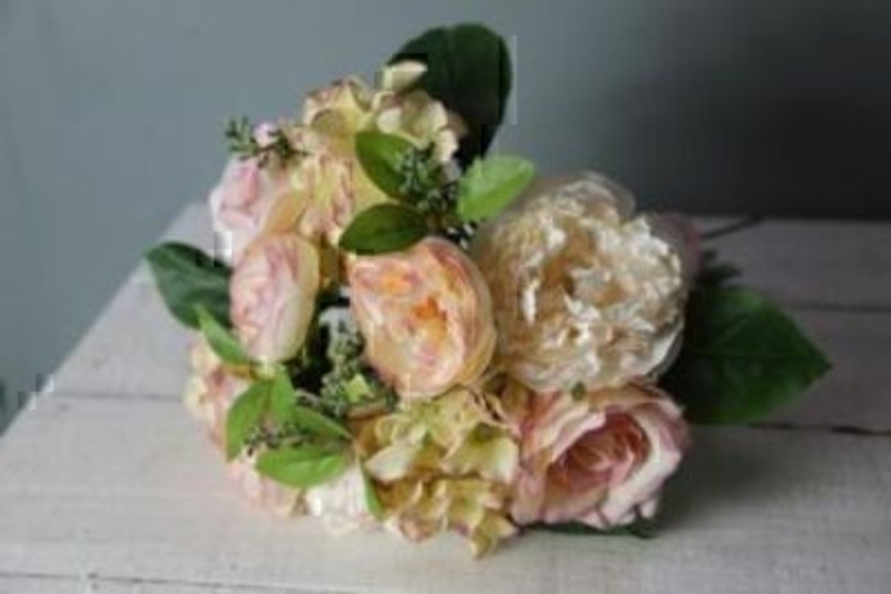 Peach and Cream Artificial Rose Flowers by Bloomsbury