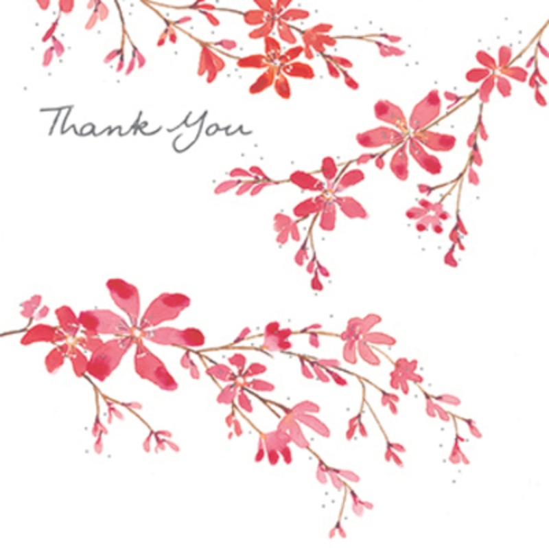 Pink Blossom Thank You Card by Paper Rose