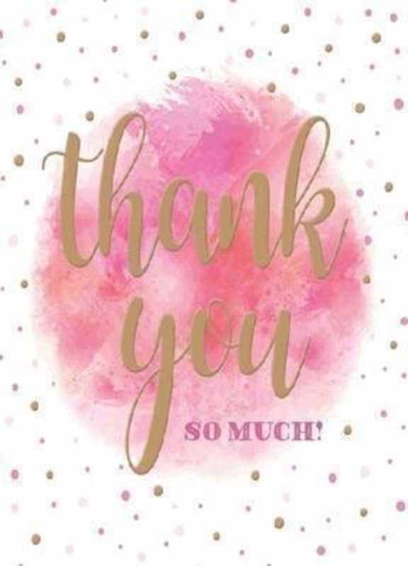 Pink and Gold Dotty Thank You Card by Paper Rose