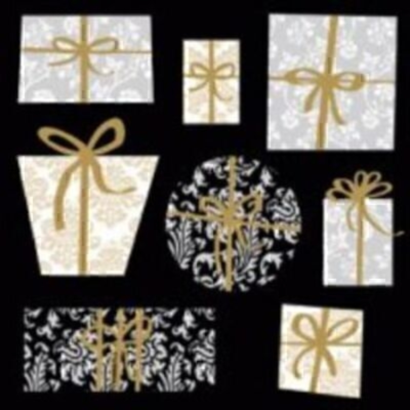 Presents Christmas Napkin - Black