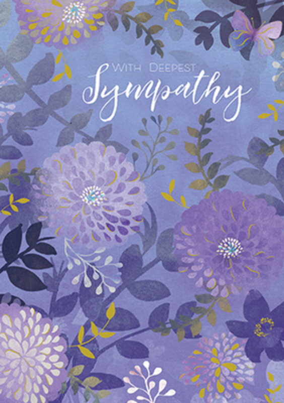 Purple Flowers Sympathy Card by Paper Rose