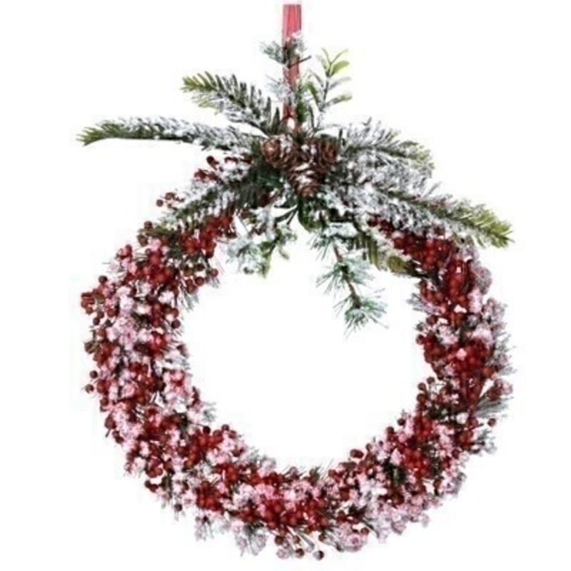 Red Snowy Berry Door Wreath Gisela Graham